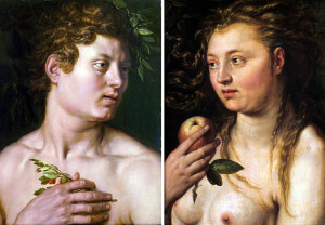 Adam and Eve, painted in 1613 by Hendrick Goltzius of the Netherlands